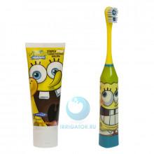 Электрическая зубная щетка Spongebob + зубная паста в Санкт-Петербурге